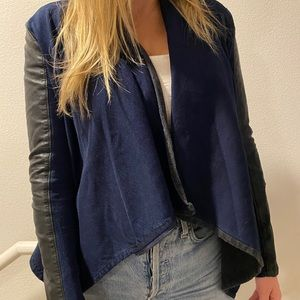 Blank NYC Navy and Vegan Leather Jacket